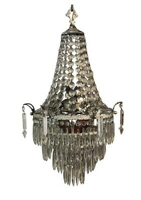 Antique Art Deco Era French Empire Crystal Prism Wedding Tier Basket Chandelier