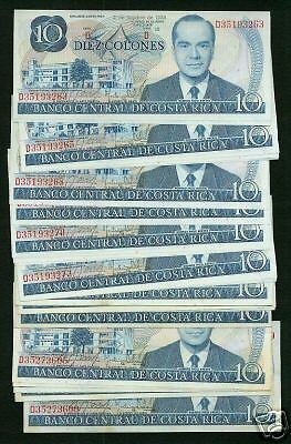 Costa Rica  1985 10 Colones  Banknotes, Fresh & Crisp Group Lot Of 25