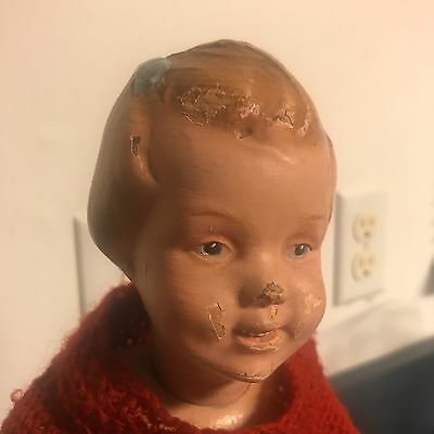 Schoenhut Carved Head Doll /w Blue bow