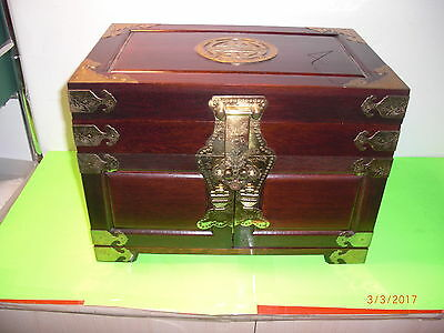 """Vintage Large Rare Chinese Wooden & Brass Jewelry Box (14 by 10 by 9"""")"""