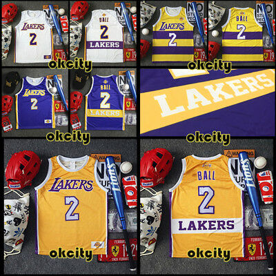 #2 Lonzo Ball Los Angeles Lakers LA NBA Jersey Men Adult Kid Youth Basketball