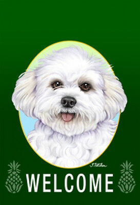 Garden Indoor/Outdoor Welcome Flag (Green) - Bichon Frise Pup 741371