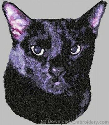 Embroidered Ladies Short-Sleeved T-Shirt - Bombay Black Cat DLE2649