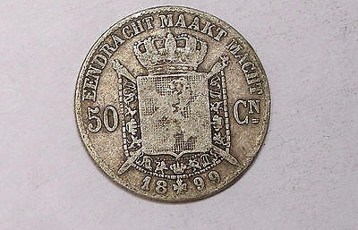 1899 Belgium SILVER 50 Cent. VF TOUGH DATE 83.5%/2.5gr INV#253-4
