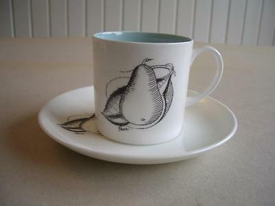 Susie Cooper Black Fruit Coffee Cup and Saucer - Pear