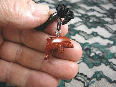 (an-dol-2) little DOLPHIN porpoise RED Jasper carving Pendant NECKLACE gemstone