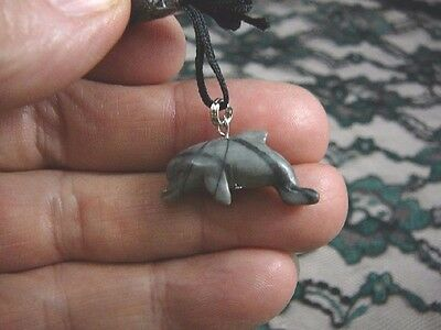 an-dol-6) DOLPHIN porpoise gray Picasso marble carving Pendant NECKLACE gemstone