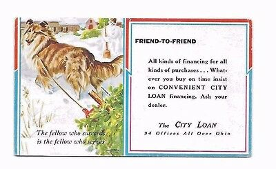 "CITY LOAN Advertising Blotter-3 1/2"" by 6""  COLLIE Pictured"