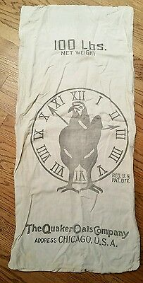 Vintage Quaker Oats Early Bird Scratch Grains Feed Sack Bag Rooster Chicago 40's