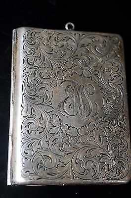 Antique Victorian Sterling Silver Hinged Dance/calling Card Case