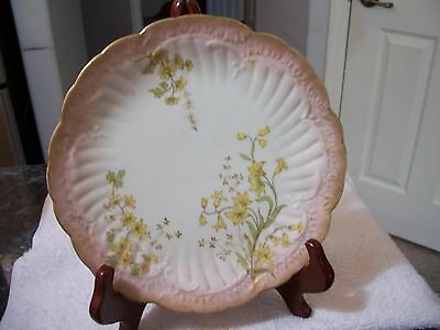 """Antique Limoges Plate - Hand painted Daffodils 8 3/4"""""""
