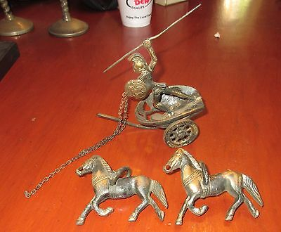Vintage heavy cast brass Roman gladiator with shield in chariot with horses