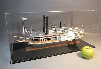 Wood Steamboat Model Of The Robert E. Lee Riverboat Paddle Wheeler In Case