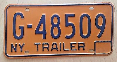 "New York 1974 - 1986 Trailer License Plate "" G 48509 "" Ny Trl"