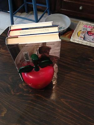 Set Of 2 Red Apple Cast Iron Book Ends Or Door Stop Heavy Country Kitchen Decor