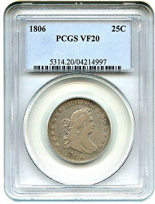 1806 25c PCGS VF20 - Great Early Type Coin - Bust Quarter