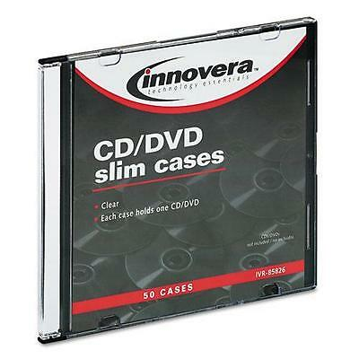Innovera 85826 CD/DVD Polystyrene Thin Line Storage Case, Clear, 50/Pack
