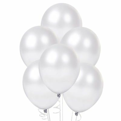 5 Quality Latex Balloons Pearl White Christening wedding Party Decorations