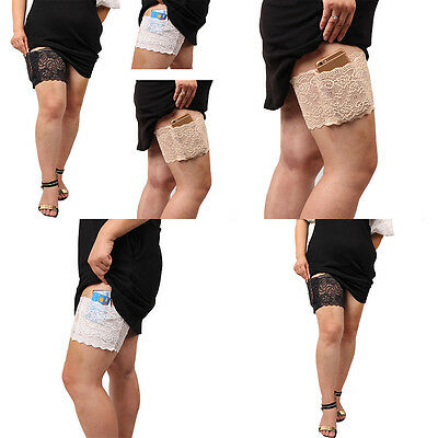 Women Stylish Anti-Chafing Thigh Bands with pocket Non Slip Lace Elastic Sock