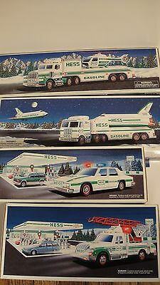 (4) HESS TOY TRUCK LOT Space Shuttle, Patrol Car, Rescue Truck,  Helicopter