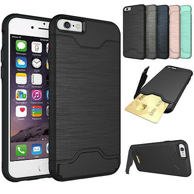 Brushed Armor Holder Kickstand phone Case + Slide Card Hybrid Cover For iPhone