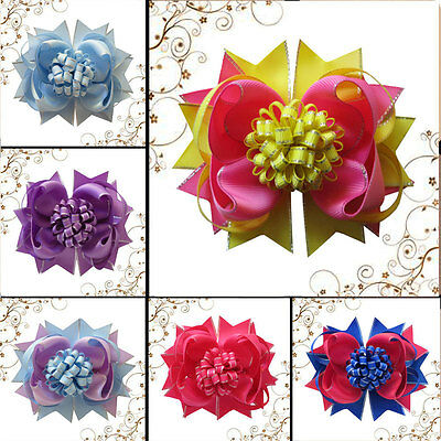 """10 BLESSING Happy Girl Hair Accessories 5.5"""" Loopy Puffs  Romantic Bow Clip"""
