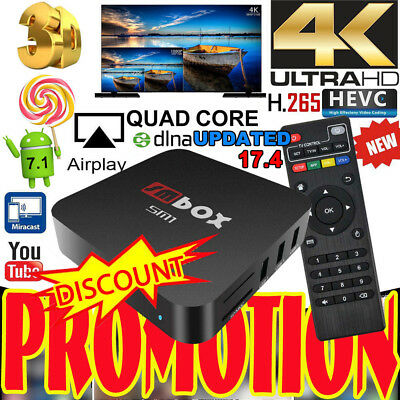4K Quad Core Smart Android 6.0 TV BOX NEW 17.3 8GB Media Player Movies Sports