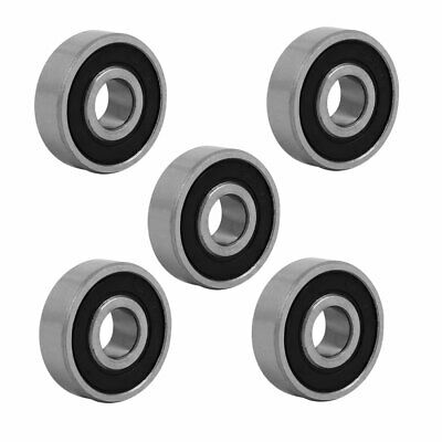 26mmx9mm Stainless Steel Double Sealed Deep Groove Ball Bearing Silver Tone 5pcs