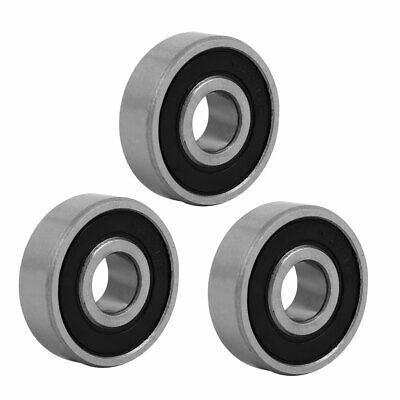 26mmx9mm Stainless Steel Double Sealed Deep Groove Ball Bearing Silver Tone 3pcs