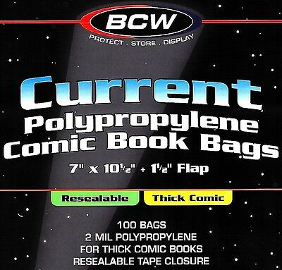 1200 Current Resealable Thick Comic Bags and Boards Archival BCW Storage