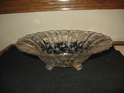 Cambridge Elegant Glass Rosepoint Pattern Large Bowl Footed Excellent Shape