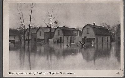 Vintage Litho Flood Kokomo Indiana East Superior Street Old Pc Postcard