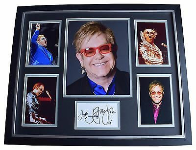 Elton John SIGNED Framed Photo Autograph Huge display Music AFTAL & COA