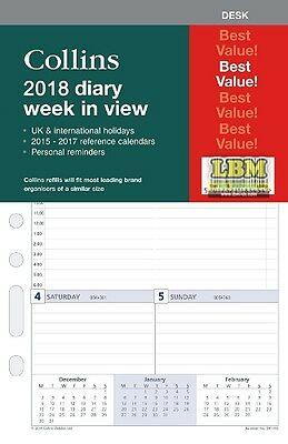 Collins 2018 Desk size Diary - Week To View Organiser Refill Insert DK1700-18