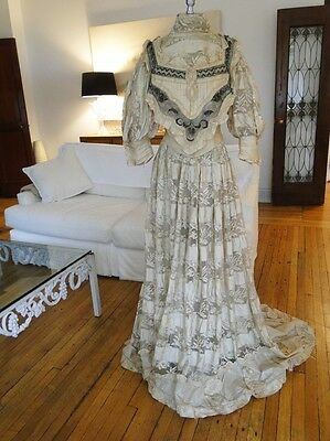 Antique Dress-Circa 19Thc. Ladies Silk,lace Dress W/embroidery,rosettes