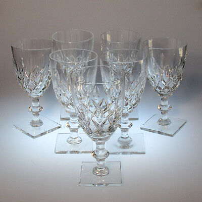 Set of 7 Hawkes Crystal Goblets Cut Glass Cornwall Pattern Square Base Signed