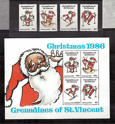 GRENADINES OF ST.VINCENT 1986 CHRISTMAS #564/67a SET+ 1 S/S MINT VF NH !!