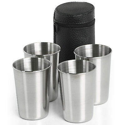 TRIXES Set of 4 Compact Travel Stainless Steel Shot Glasses with Leather Effect