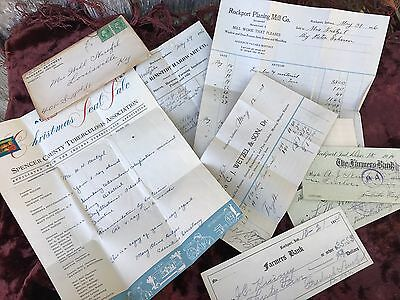 Lot Of Antique/vintage Early 1900's Checks, Invoices & Letters From Rockport In