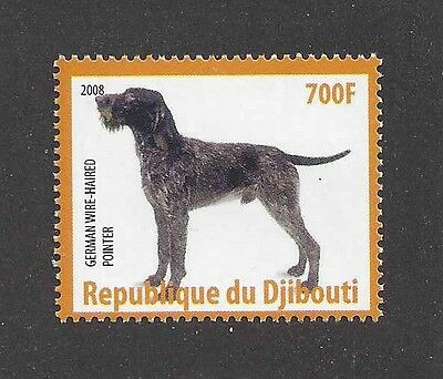 Dog Photo Body Postage Stamp GERMAN WIREHAIRED POINTER Djibouti Africa 2008 MNH