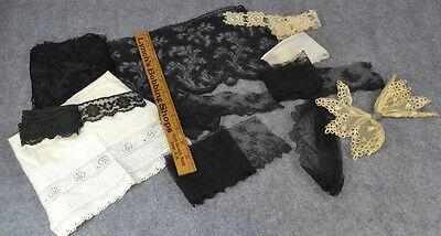 lace black white cotton silk remnants yd trim doll clothes antique 1800s