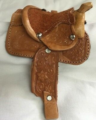 Western Miniature Horse Saddle Christmas Ornament - Leather- Natural 2 - New
