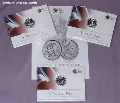 2013 Royal Mint Silver £20 Coin - St George & Dragon - Mint Sealed