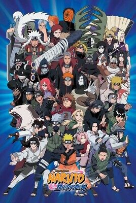 NARUTO ~ SHIPPUDEN BLUE CAST ~ 24x36 ANIME POSTER Manga Shonen Jump Cartoon