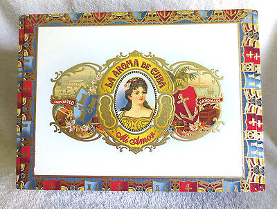 ASHTON La AROMA De CUBA MI AMOR VALENTINO CIGAR BOX - BEAUTIFUL GRAPHICS!