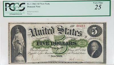1861 PCGS VF25 New York $5 Demand Note Fr. 1 Item#J233