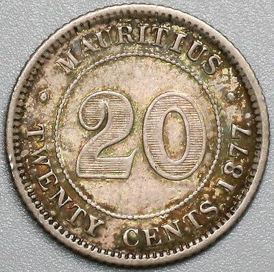1877-H MAURITIUS Silver 20 cents  Britain Empire Coin (17040319R)