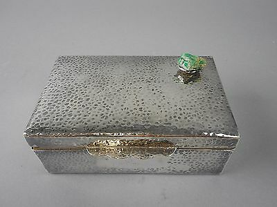 Hand Hammered Sterling Silver Trinket Box w/ Wood Insert Raw Emerald Decoration