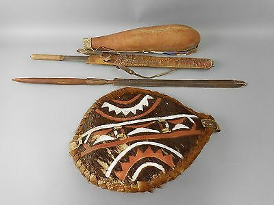 Antique African Maasai Seme Short Sword, Spear Tip, Shield & Gourd Quiver