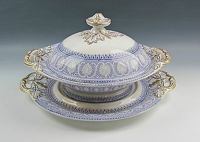 Antique Transfer-ware Davenport China ATHENS-LAVENDER Tureen w/Lid & Underplate